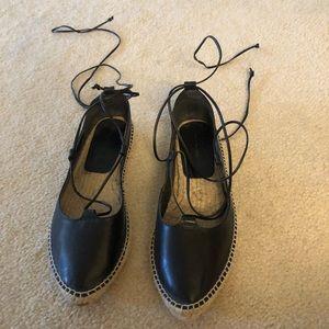 Zara black leather lace up espadrilles 40